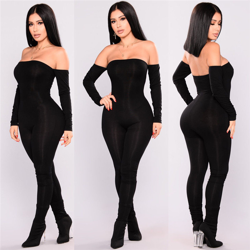 Autumn Sexy Backless Off Shoulder Black Long Sleeve Jumpsuit Women Slim High Waist Pants Romper Female Casual Overalls Femme