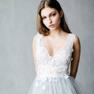 Image 3 - Dusty Blueดอกไม้งานแต่งงานชุดTulleกระโปรงVคอชุดเจ้าสาวBoho Bohemian Lorie Gownsแต่งงานโรแมนติกแขนกุด