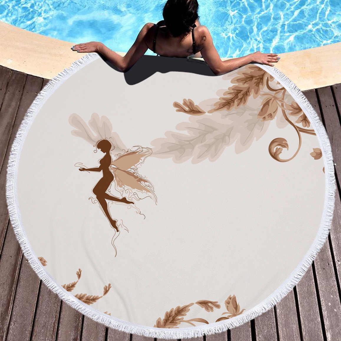 3D 천사 날개 인쇄 된 마이크로 화이버 라운드 비치 타월 성인을위한 목욕 타월 어린이 요가 매트 Tassels 담요 홈 장식