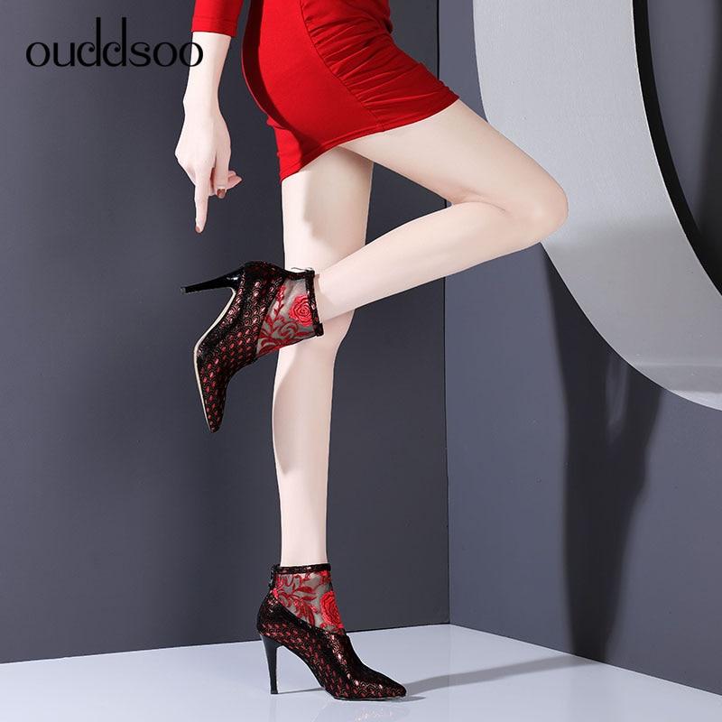 red Conception Pointu Dames Chaussons Ouddsoo Bout Chaussures Super Talon Femme Bottes Talons Bottines Minces Stilettos D'été Blue Sexy Haute Sa11IFqWU