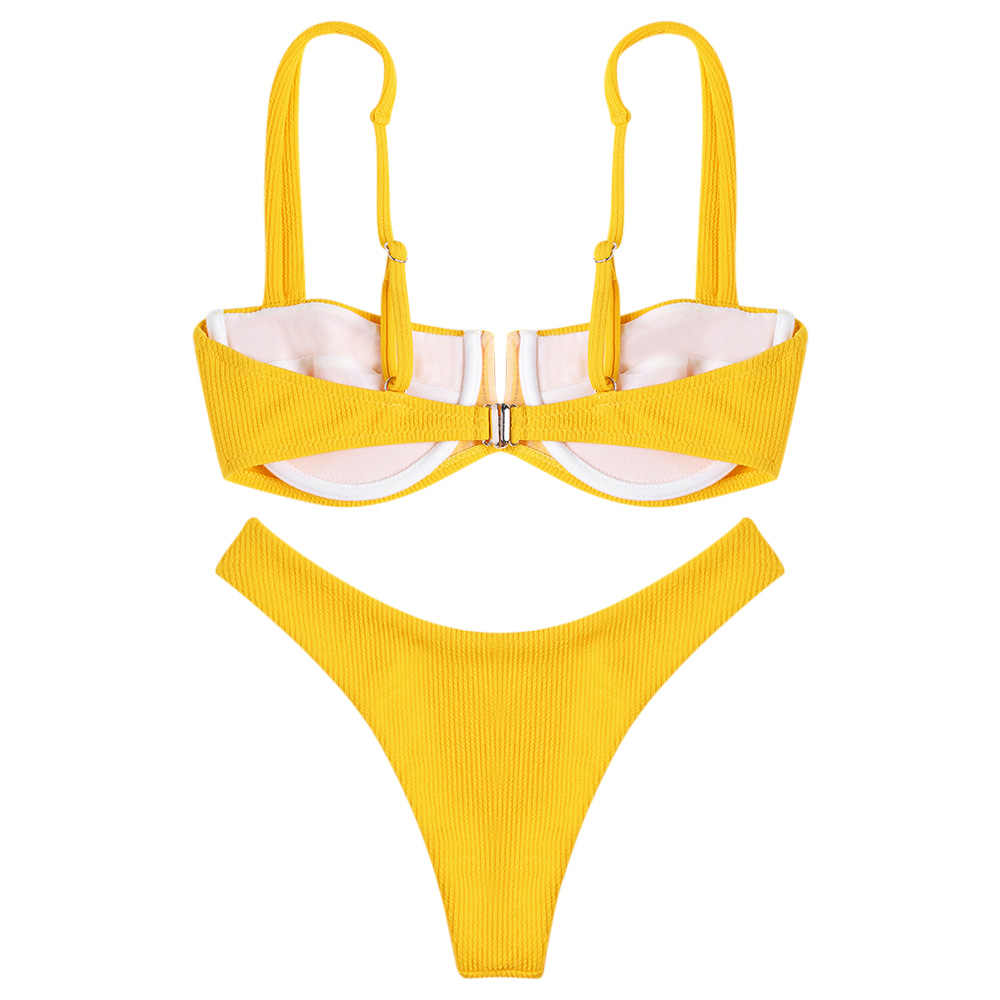 LANGSTAR lato pasek na ramię Backless fiszbiny prążkowane jednolity kolor niski stan kobiety Bikini Set oddzielna kobieta strój kąpielowy nowy