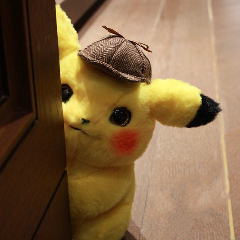 28 cm Detective Pikachu Plush Stuffed Toy Bonito Anime Brinquedos De Pelúcia Boneca de Brinquedo Presente das Crianças Dos Miúdos Dos Desenhos Animados Peluche Pika presente de natal
