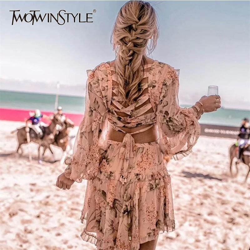 TWOTWINSTYLE Print Dress Female Lantern V Neck Long Sleeve Hollow Out Back Bandage Women s Dresses