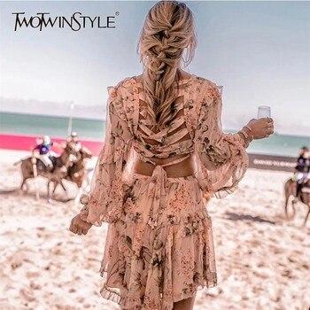 V Neck Long Sleeve Hollow Out Back Bandage Women's Dresses