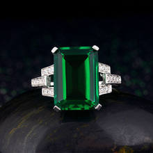 Size Q Green Solitaire Created 3 Stone Ring Silver Rings Circle Beatiful Soft(China)