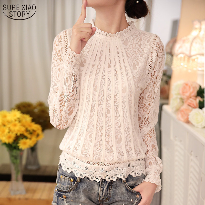 2018 New autumn Ladies White Blusas Women's Long Sleeve Chiffon Lace Crochet Tops Blouses Women Clothing Feminine Blouse 51C 1