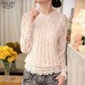 2018 nuevo otoño señoras blanco Blusas de manga larga de las mujeres de gasa Tops de encaje de Crochet, Blusas de las mujeres ropa femenina blusa 51C