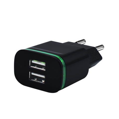 5V 2A EU Plug LED Light 2 USB Adapter Mobile Phone Wall Charger Device Micro Data Fast Charging For iPhone 5 6 iPad Samsung Multan