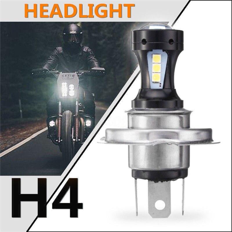 H4 Motorcycle Motorbike Headlight 18SMD 3030 LED Hi-Lo Beam Lamp Bulb 6500K DC 12V 800LM 18W