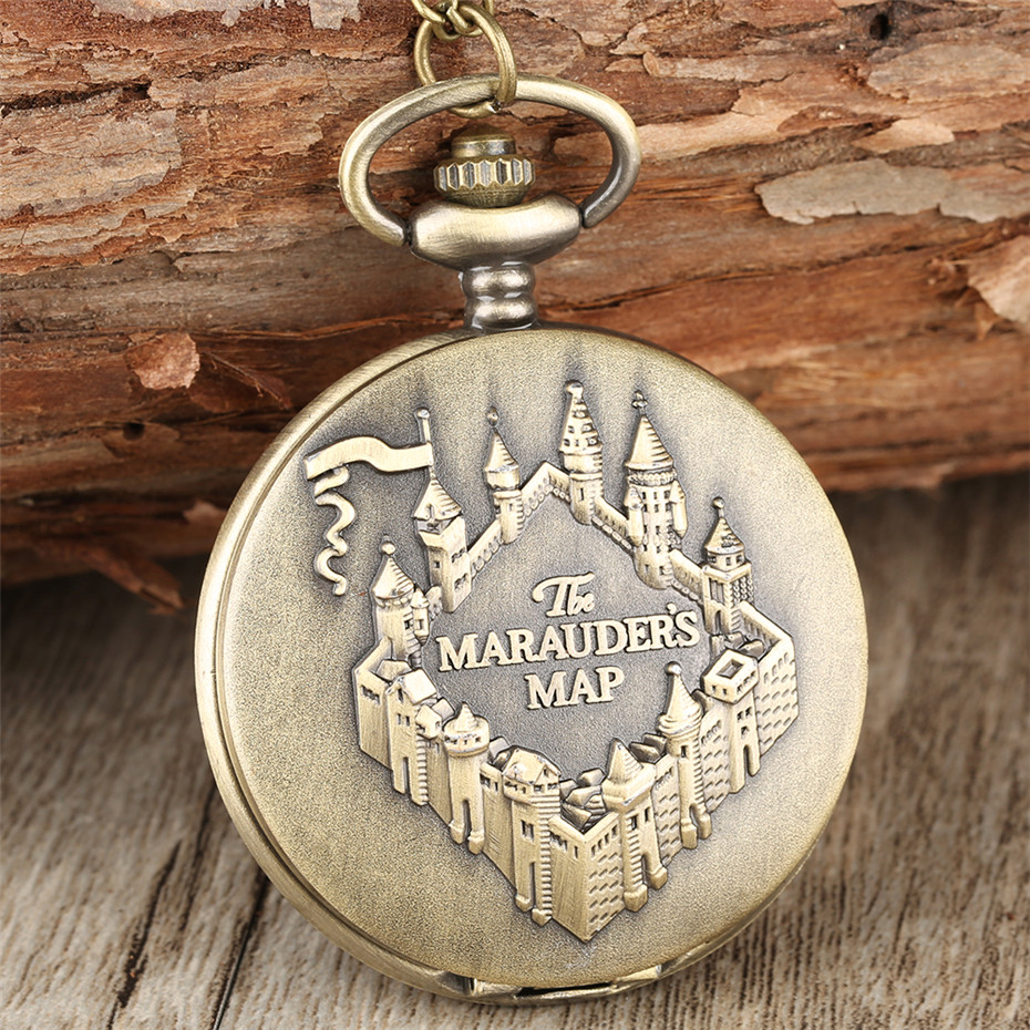 Steampunk Bronze The Marauders Map Design Pocket Watch Quartz Retro Pendant Watch With Fob Necklace Chain Unisex Clock Gifts