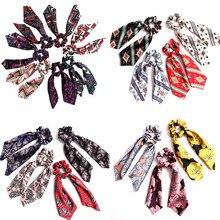 Богемные эластичные резинки для волос с цветочным принтом и бантиком, женские резинки для волос, шарф для путешествий, веревка, резинки, аксессуары для волос для девочек, подарки