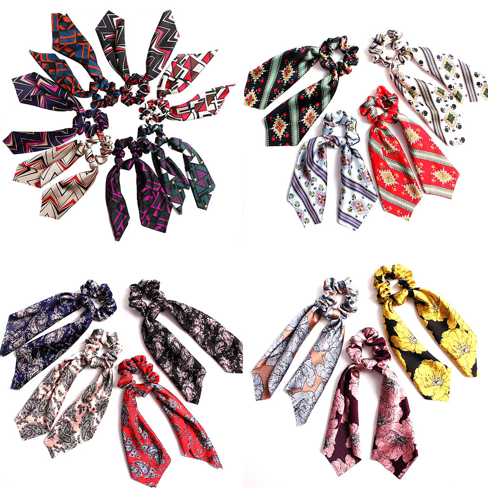 Bohemian Floral Printed Bow Elastic Hair Bands Scrunchie Women Travel Hair Scarf Rope Ties Gum Hair Accessories For Girls Gifts