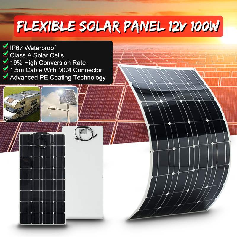 100W 12V Flexible Solar Panel Plate Solar Charger for Car Battery Charging 18V Monocrystalline Cell Module For Hause,Roof,Boat