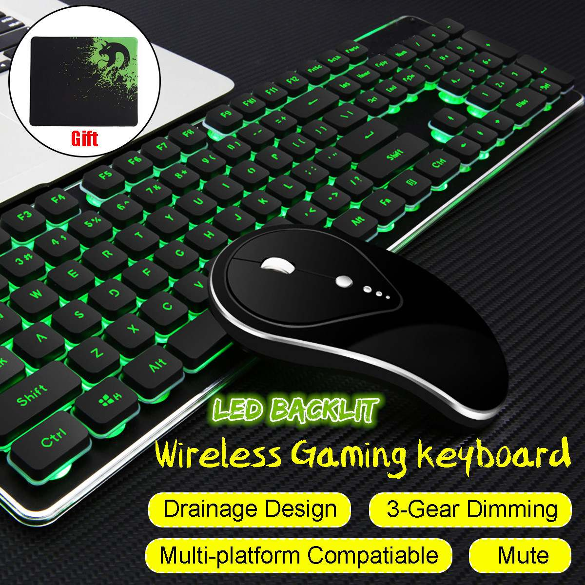 wired wireless led keyboard mouse set rainbow backlight usb luminous gaming keyboard mouse pad. Black Bedroom Furniture Sets. Home Design Ideas