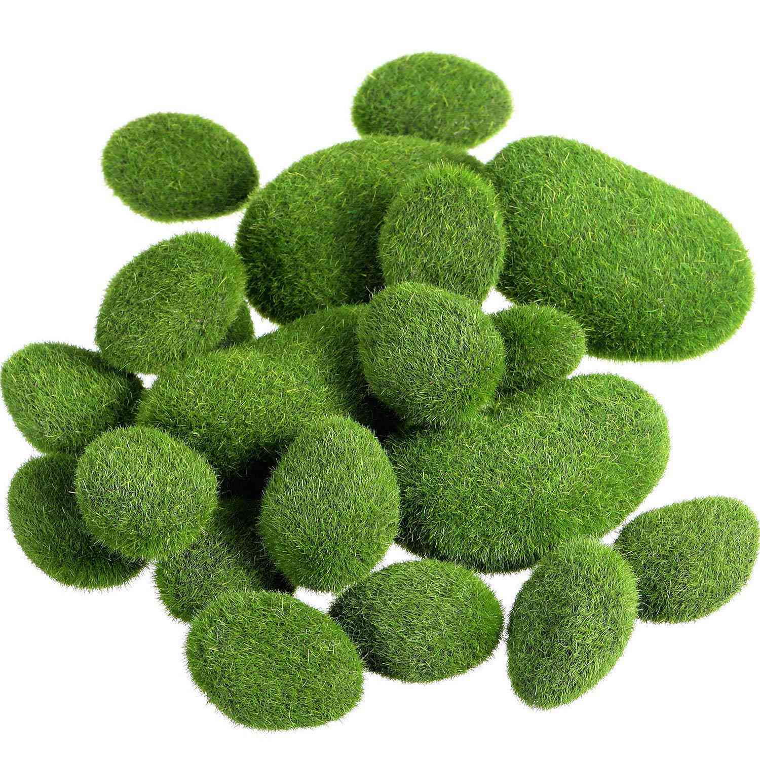 20 Pieces 2 Sizes Artificial Moss Rocks Decorative Faux Green Moss Covered Stones