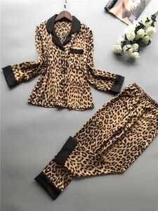 Image 5 - 2019 Summer Women Pajamas Sets With Pants Silk Homewear Satin Leopard Print Sexy Pijama Long Sleeve Pyjamas Thin Sleepwear