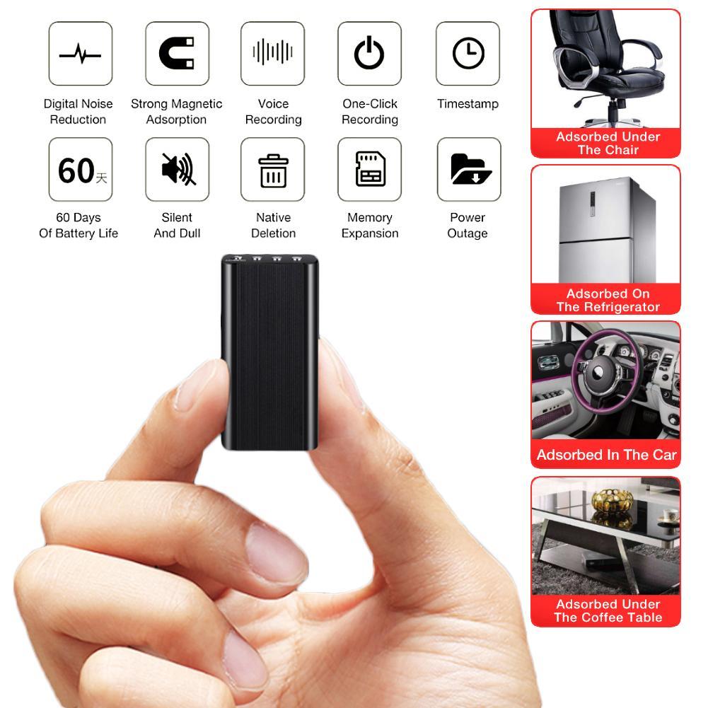 8 GB 16 GB Mini Magnetic Discrição Profissional HD Gravador de Voz Portátil Excelente Ocultação Redução de Ruído Gravador Remoto