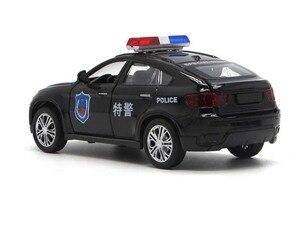 Image 3 - 1/32 Hoge Simulatie BM W X6 Metal Diecast Voertuig Legering Speelgoed Politie Auto Geluid En Licht Trek Model Speelgoed Voor Kinderen S