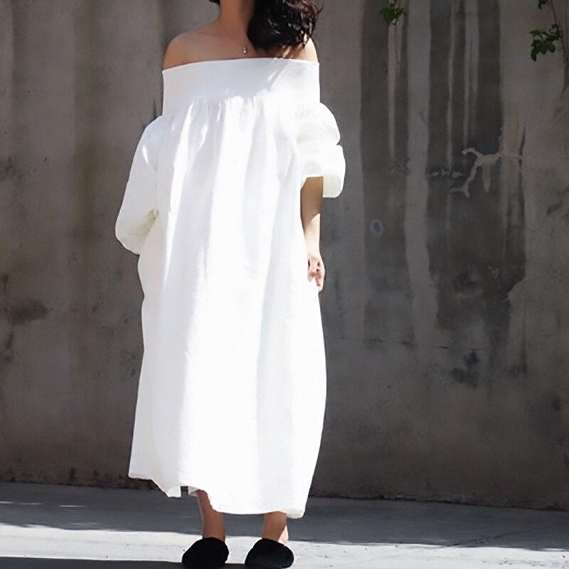 Deat 2020 Me Stesso Che Indossa Estate Slash Collo Manica Lunga Bianco Allentato di Grande Formato Lungo di Temperamento Delle Donne Del Vestito Fresco E Stange