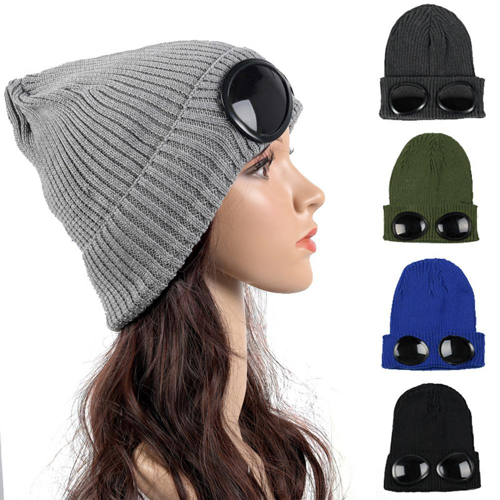 mrwonder Winter MenWomen Unisex Knitted Cap With Glasses Solid Color Ornaments Fashionable Warm Hat