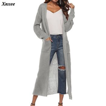 2020 New Spring Autumn Women's long-sleeved Knitwear Kimono warm Cardigans Solid Color Knitted Outerwear Pockets