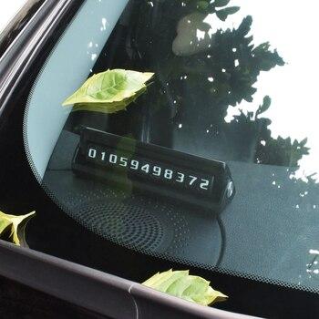 Deelife numéro de téléphone de voiture plaque de carte de stationnement temporaire avec 2 numéros de téléphone cachés Flippable