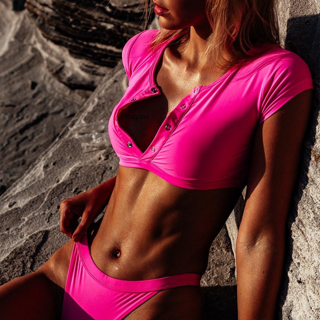Neon Pink Bikini 2019 Sport Short Sleeve Swimsuit Women Swimwear Front Button Sexy High Cut Crop Top Thong Tshirt Bathing Suits