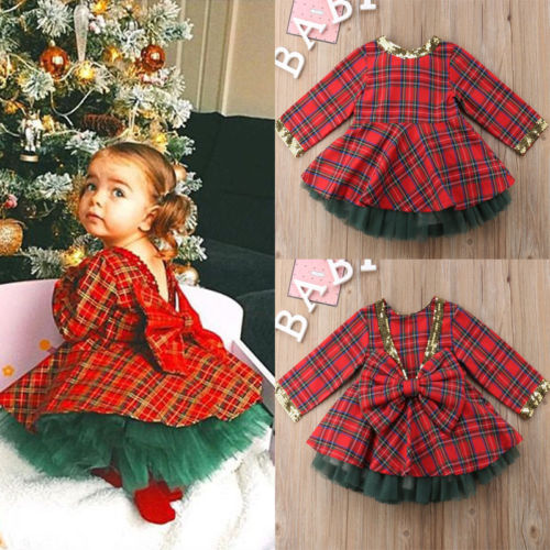 35e5c33b6 Christmas Kids Baby Girls Party Pageant Red Plaid Pretty Sequin Bowknot  Dress Tutu Green Lace 2pcs Outfits Set Clothes