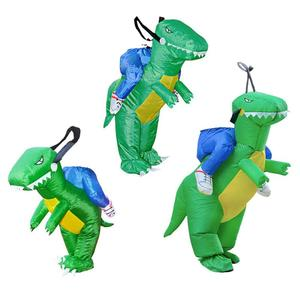 Image 3 - 3D Stand Riding Inflatable Dinosaur Costume Halloween Dress Cosplay Suit Horse Cowboy Costume for Kids Adult Party Prop Supplies
