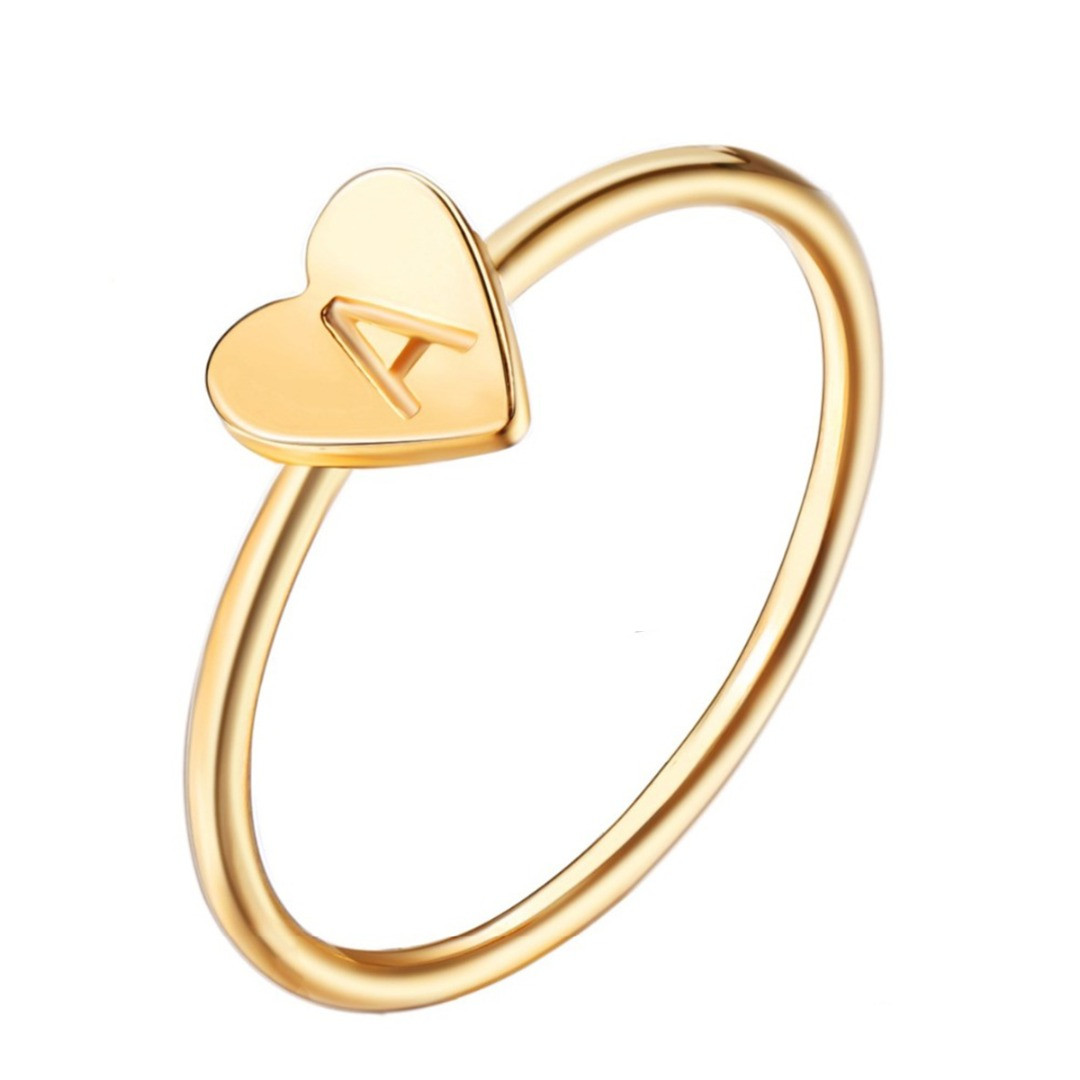 Adjustable-Ring Stacking Engraved Girlfriend Initial Women Love Jewelry Gift Heart Simple