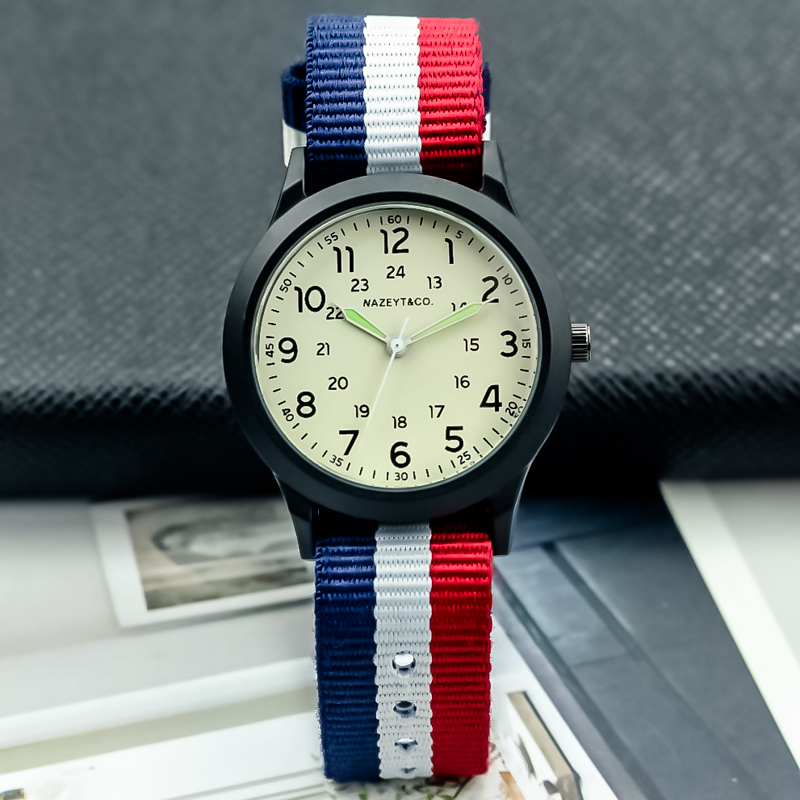 2019Free Shipping Nazeyt Boys And Girls Outdoor Sports Army Watch Luminous Hands Child Student Multicolor Nylon Strap Gift Clock