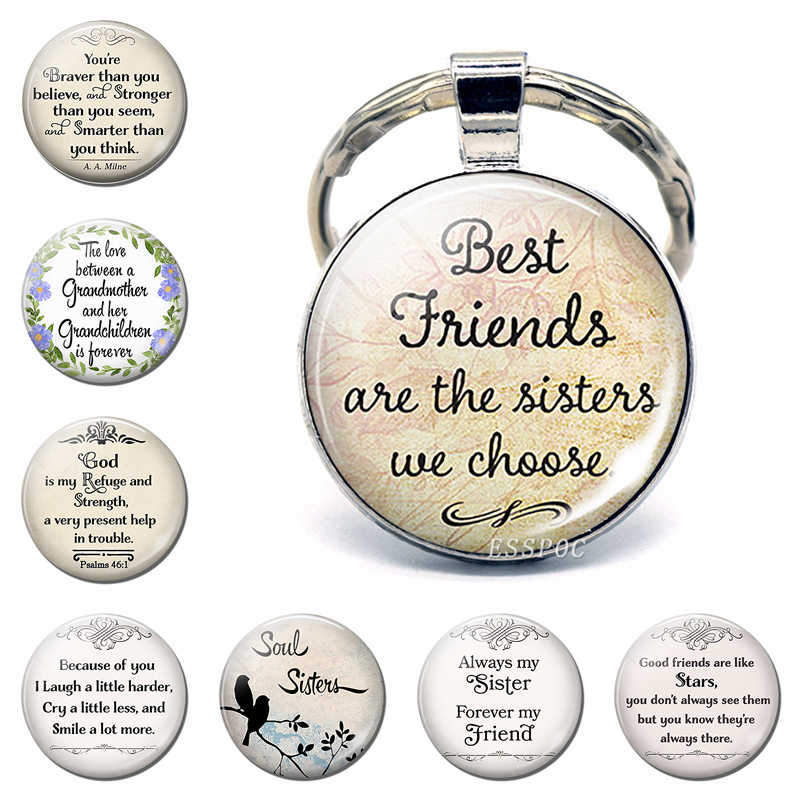 Always My Sister Best Friend Fashion Silver Metal Glass Key Chain Ring Sisters Keychain Pendant Jewelry Friendship Women Gifts