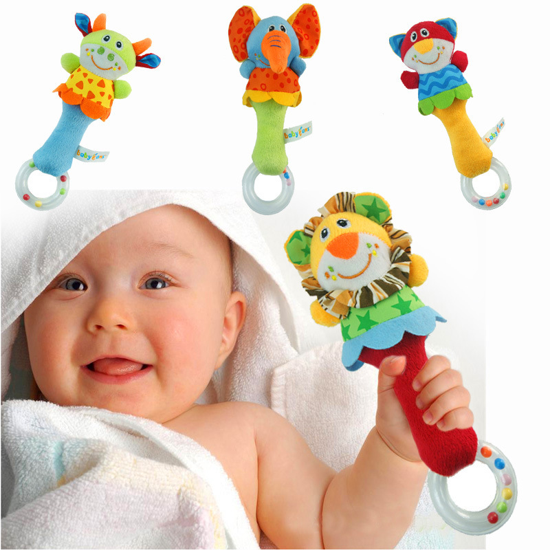 New Design Plush Baby Toy Animal Hand Bells Baby Rattle Toys High Quality Newbron Gift Animal Style