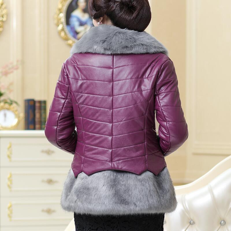 Bas Mince Taille Top Qualité Chaud De Nouvelles Fourrure Coton Vers burgundy purple Black Vestes Cuir Femmes En Faux 2017 Col Manteaux Grande red Le D'hiver Manteau qPqwp0Hx
