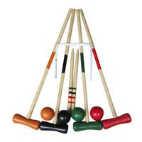 Croquet Set For 2 6 Players Mallet Middle Pole Benchmark Pole Ball Door Portable Wooden Sports Game Family Friend Amusement Park