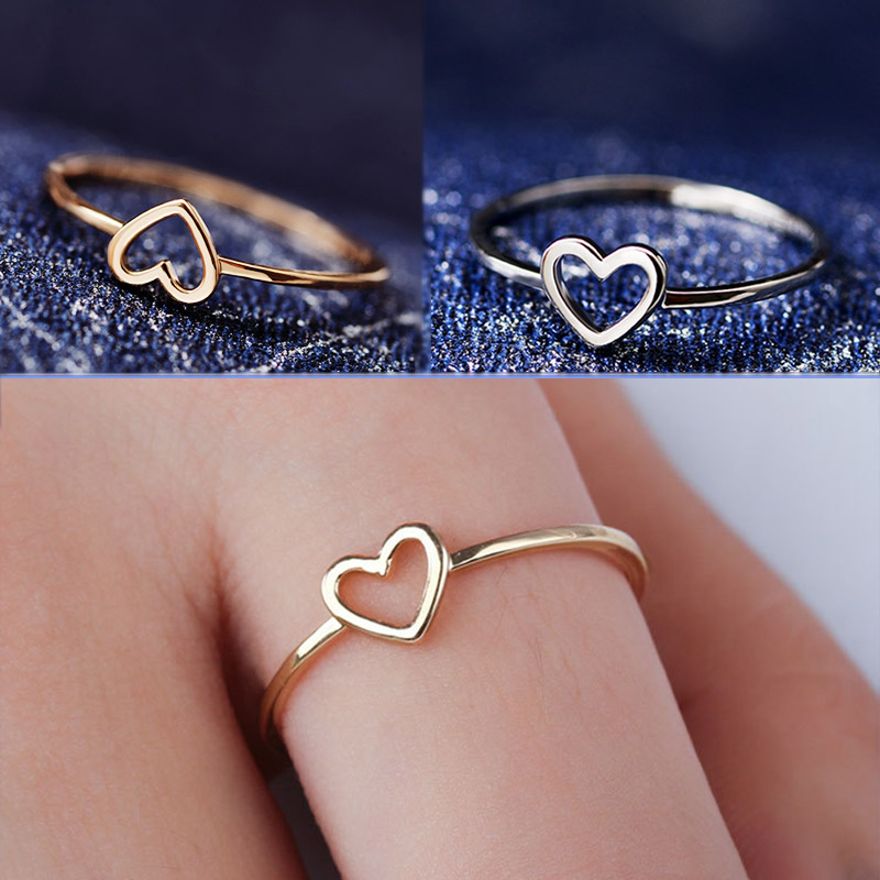 Golden Hollow Out Beautiful Silver Wedding Couples Heart 1PC Ring Bride Size6 7 8 9 10 Scarf Accessories Valentines Gift(China)