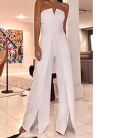 white wide leg jumpsuit bodysuit rompers womens jumpsuit one piece body suit bodycon jumpsuit elegant backless free shiping
