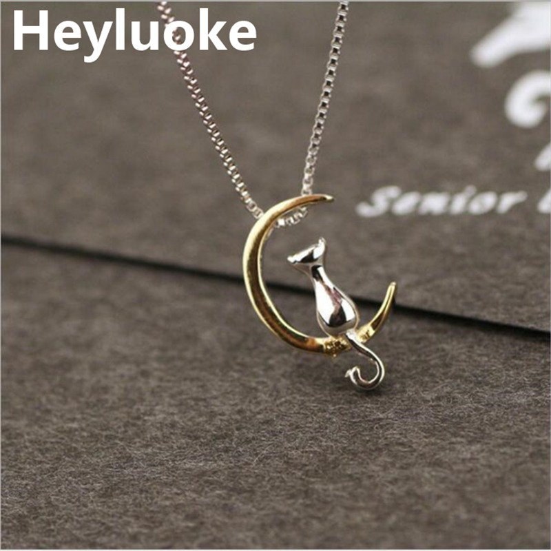 HEYLUOKE 925 Sterling Silver Rose Gold Color Animal Cat on Moon Necklaces Pendants Women Silver Jewelry