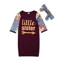 0-24 м маленькая сестра новорожденная пеленка одеяло для маленьких девочек спальный мешок обруч повязка на голову 2 шт. детская одежда