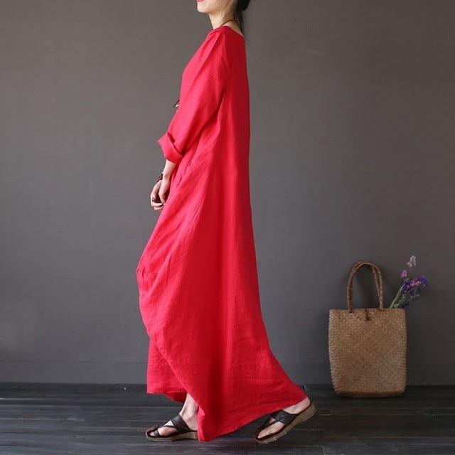 2020 Summer autumn Plus Size Dresses Women 4xl 5xl Loose long vintage Dress Boho Shirt Dress Maxi Robe fashion Female Q293 6