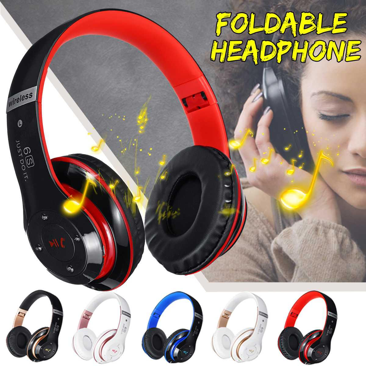 bluetooth Over Ear Foldable Headphones Wireless Stereo Headset Noise Cancelling with Mic TF FM for PC/Cell Phones/TV/Computer
