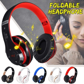 bluetooth Over Ear Foldable Headphones Wireless Stereo Headset Noise Cancelling with Mic TF FM for PCCell PhonesTVComputer