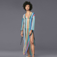 2019 European New Chiffon Red Blue Pink Green Vertical Stripe Beach Suntan Long Smock, Swimsuit Blouses, Women's Wear.