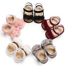 Летние сандалии для девочек; обувь для новорожденных; Милые Пляжные сандалии для маленьких девочек; обувь в горошек с цветочным узором для маленьких девочек; кожаные сандалии для малышей; Sandy