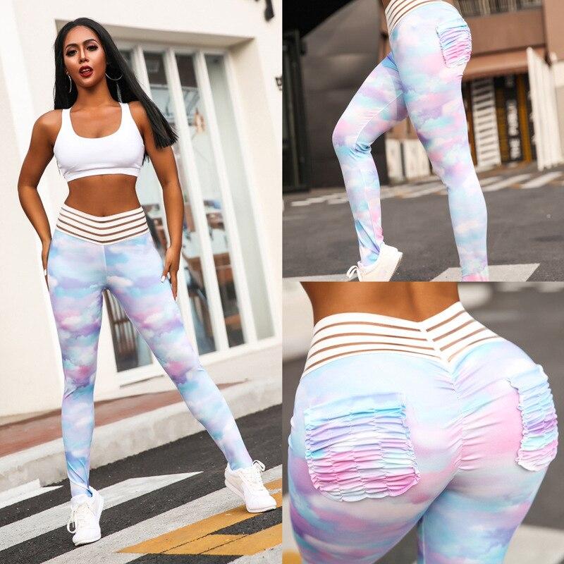 Colorful Pleated Pocket Print Hip Push Up   Leggings   Women High Waist Elastic Workout   Leggings   for Sport Gym Slim Fitness   Leggings