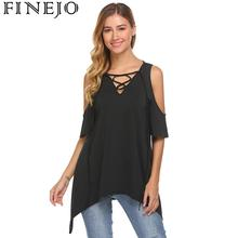 Women Lace Up V-Neck Cold Shoulder Short Sleeve Solid Loose Tunic Shirt Tops army green scoop neck cold shoulder tie up at back tee