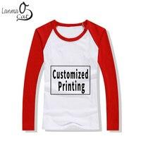 Lanmaocat Cotton Tee Shirts Men O Neck Fashion Custom Printing T shirts Casual Mans Blank Tshirt Full Sleeve Top Free Shipping
