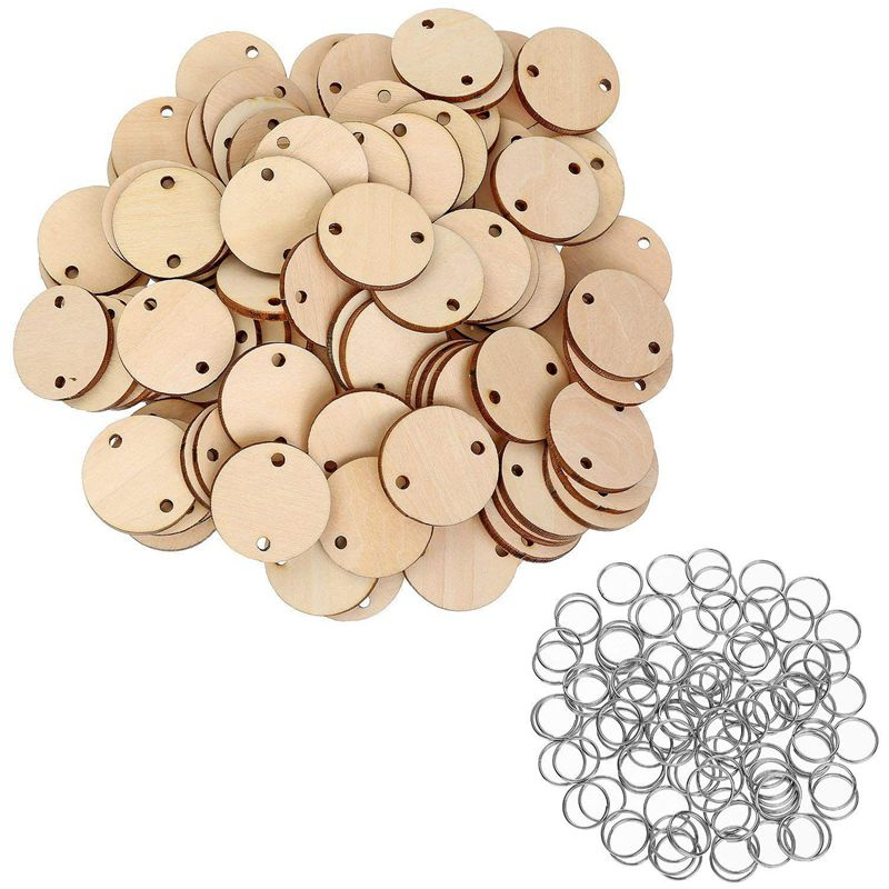 100 Pieces Round Wooden Discs With Holes Birthday Board Tags And 100 Pieces 15 Mm Rings For Arts And Crafts (3CM)