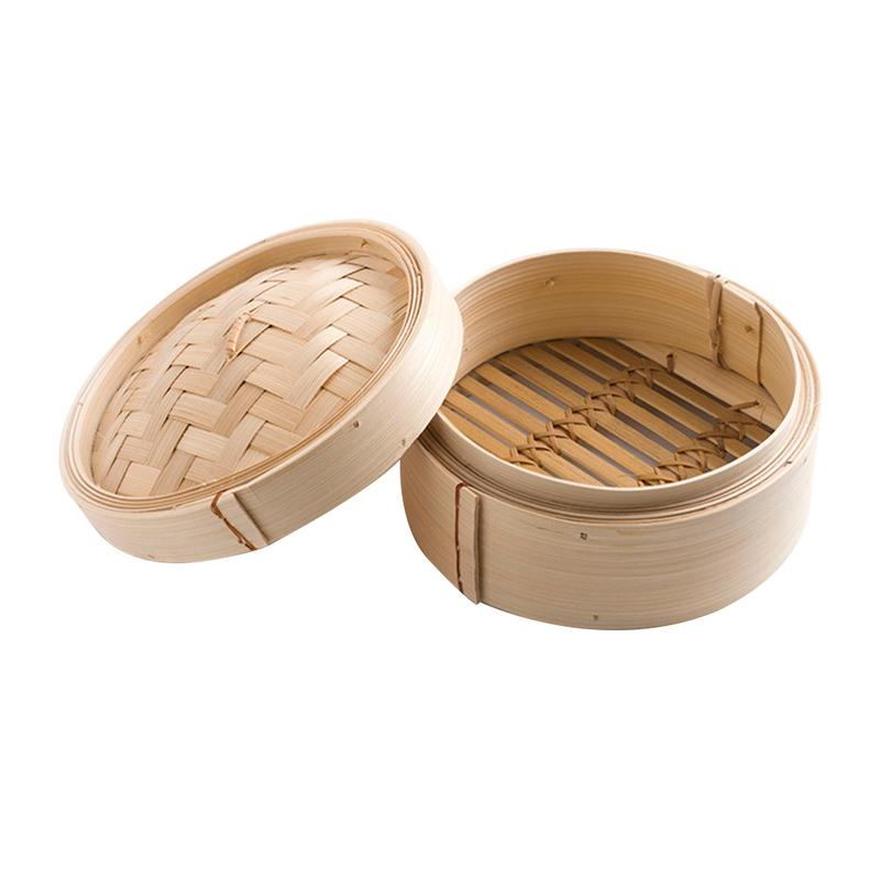 Bamboo Steamer Cage With Cover Cooking Bamboo Heating Steamer Fish Rice Vegetable Snack Basket Set Kitchen Cooking Tools