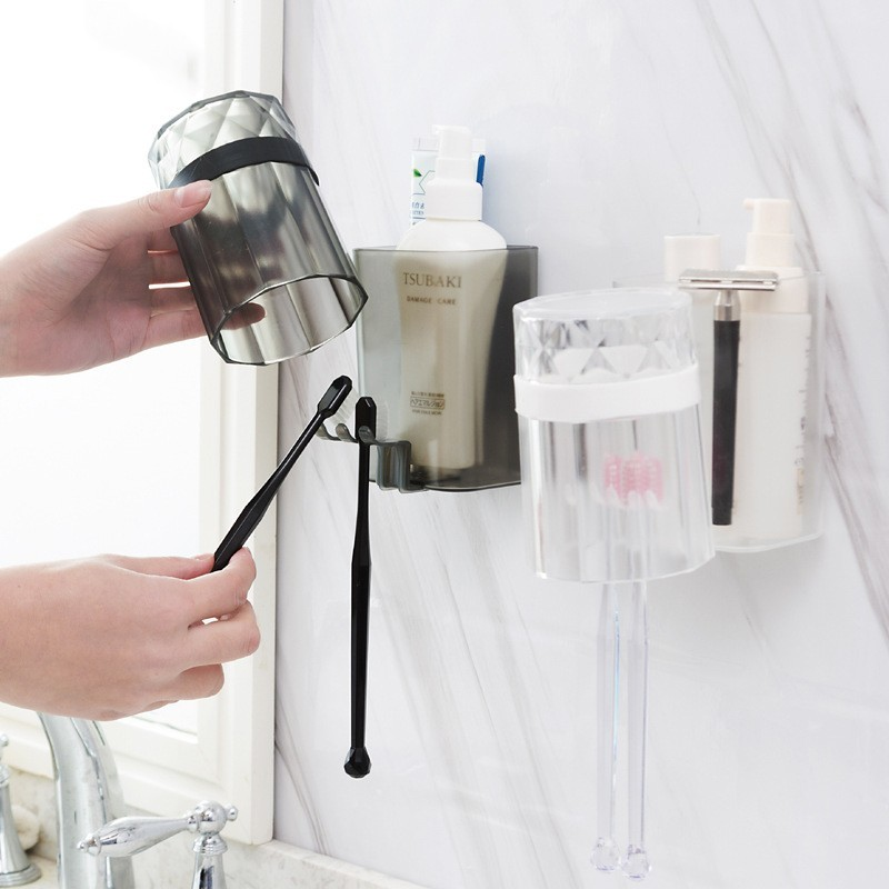 Diamond With Cup Toothbrush Holders Toothpaste Gargle Frame Shelf Bathroom Washroom Accessories Shaver Holder BrushTeeth Cup Set